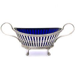 Zilveren zoutvaatje blauw glazen binnenbakje