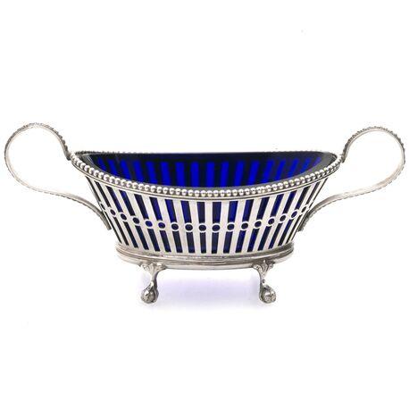 zoutvat antiek zilver met blauw glas