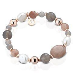 Lelune rosé rekarmband maansteen, agaat, quartz en parels