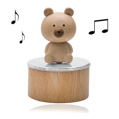 Zilveren muziekdoos houten beer