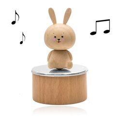 Zilveren muziekdoos hout konijn