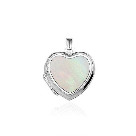 Zilveren medaillon hart met parelmoer