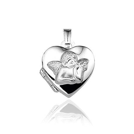 Klein medaillon hart met engeltje zilver