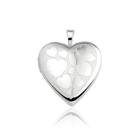 Zilveren hart medaillon met hartjes