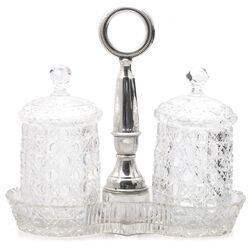 Kristallen compotestel met zilveren handvat