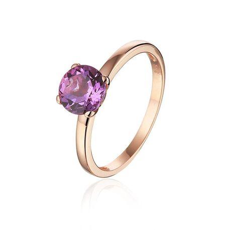 Rosé gouden ring bezet met amethist