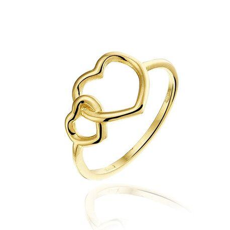 Geelgouden ring harten