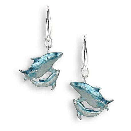 Zilveren oorbellen dolfijntjes blauw emaille