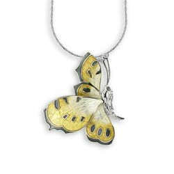 Nicole Barr zilveren vlinder geel emaille wit saffier