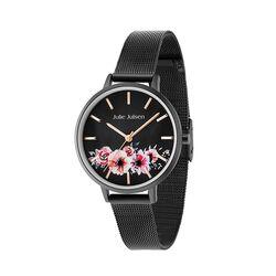 Julie Julsen gezwart horloge roze bloemen