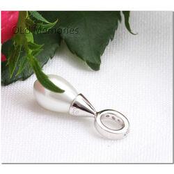 Zilver parel hanger zirconia ZIH394w Zinzi