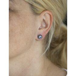 Zilveren oorbellen Delfts blauw porselein met molen