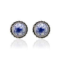 Zilveren oorbellen Delfs blauw aardewerk bloemmotief