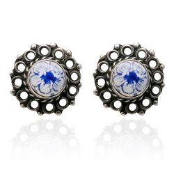 Oorbellen Delfts blauw aardewerk bloem patroon