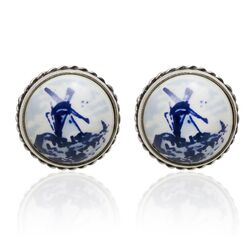 Delfs blauw met zilveren oorbellen molen