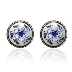 Delfs blauw oorbellen bloem zilver
