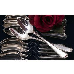 12 Zilveren theelepels parelrand Van Outvorst