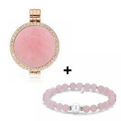 MY iMenso aanbieding rosé medaillon met roze jade armband en steen gratis