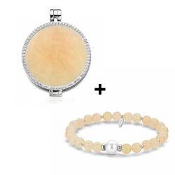 MY iMenso aanbieding zilver medaillon 33 mm met zirkonia met een gratis steen en armband in geel jade