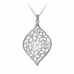 Hot Diamonds zilveren ketting met hanger bloemen hanger DP315