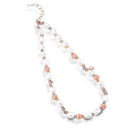 Lelune collier parelketting rosé zilver LGNK192.2