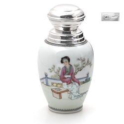 Chinees porseleinen theebus zilver montuur en dop