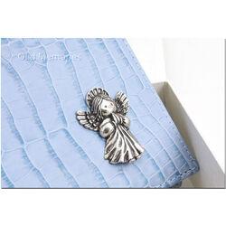 Blauw fotoalbum met zilveren engel voor babyfoto's