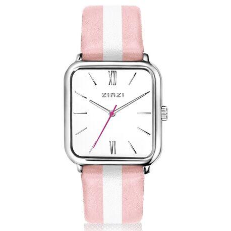 Zinzi horloge vierkante kast witte wijzerplaat roze/witte band ziw806rs