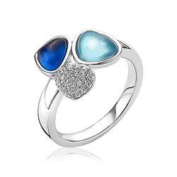 Zinzi driehoek ring wit turkoois en blauw ZIR1786B