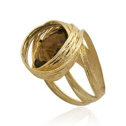 geelgouden ring rookkwarts imagine jewellry occasion bij Zilver.nl