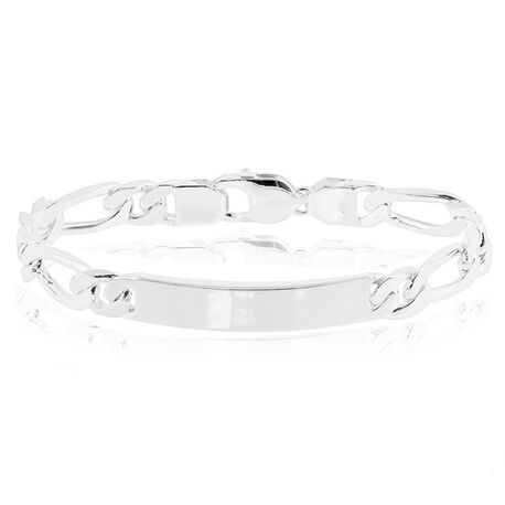 Zilveren naamplaat armband figaro schakel 21 cm