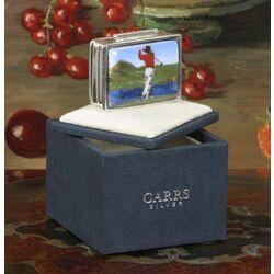 Zilveren pillendoos emaille golfer