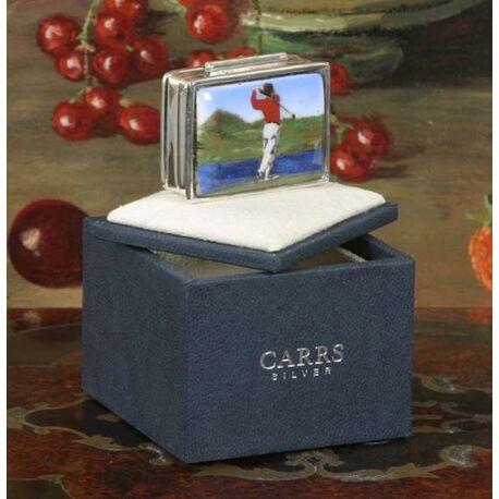 Zilveren doosje golfer golf golfliefhebber