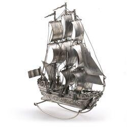 Miniatuur zilveren driemaster J. Verhoogt Hoorn