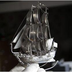 Antiek zilveren zeilschip driemaster Jan Verhoogt Hoorn rond 1910