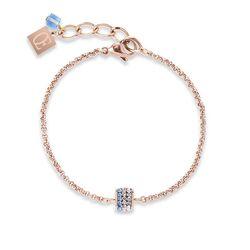 Coeur de Lion armband kubus pavé kristal rosé en blauw