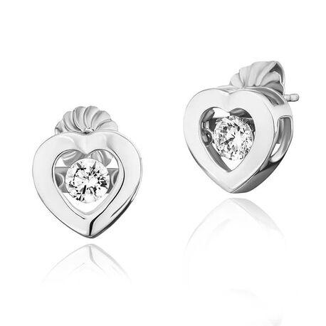 Julie Julsen zilveren oorstekers hart wit zirkonia