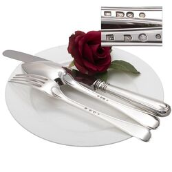 zilveren lepel, vork en mes filetmodel oud zilver