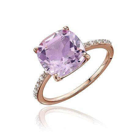 Elements Gold rosé gouden ring met amethist