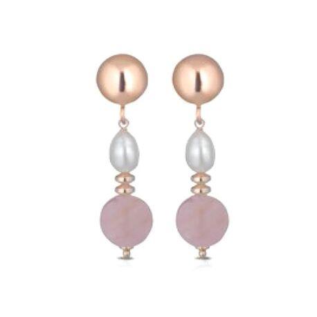 Lelune rosé oorbellen parel roze quartz