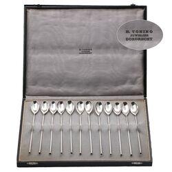 Zilveren lange longdrinklepels en rietjes oud zilver