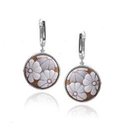 Diluca zilveren oorhangers bloemen camee