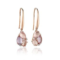 Elements Gold rosé oorhangers roze quartz diamant