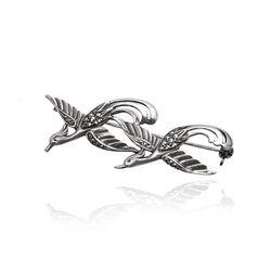 Antiek zilveren broche zwaluwen met markasiet