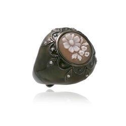 Diluca camee ring met zwart/groen emaille