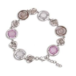 Diluca zilveren camee armband roze wit