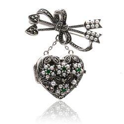Zilveren markasiet broche/hanger hart met smaragd