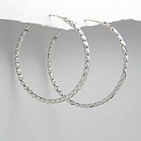 zilveren gedraaide oorringen 4 cm