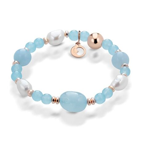 Lelune aquamarijn armband met parels