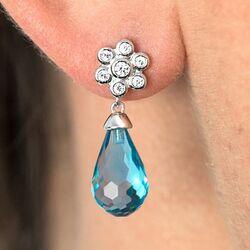 Zinzi zilveren oorknoppen licht blauw ZIO1833B